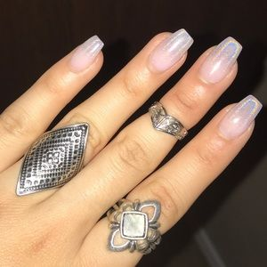 3pc Silver Medieval Ring Set